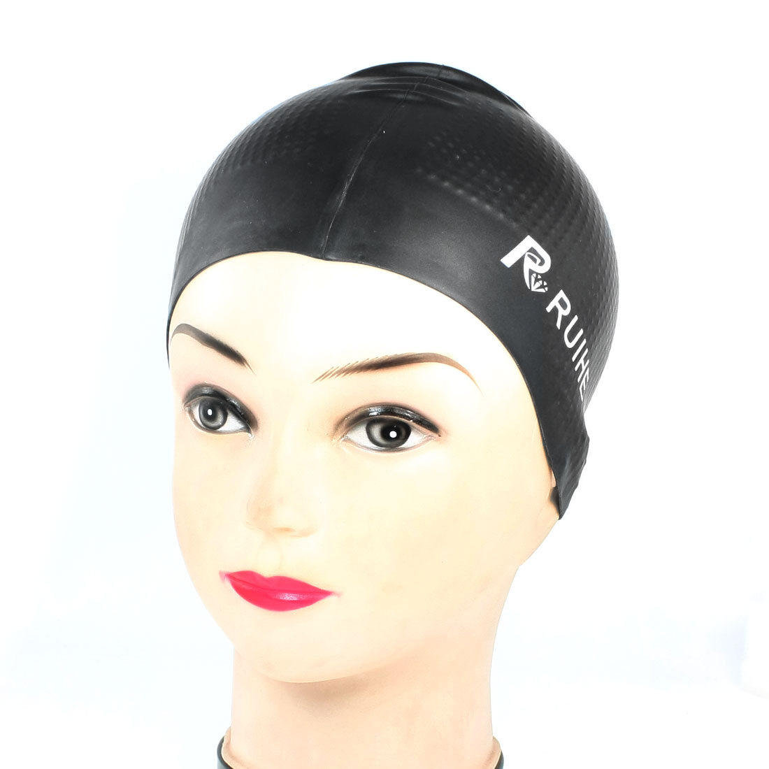 Antislip Stretchable Silicone Diving Swimming Cap Black for Adults