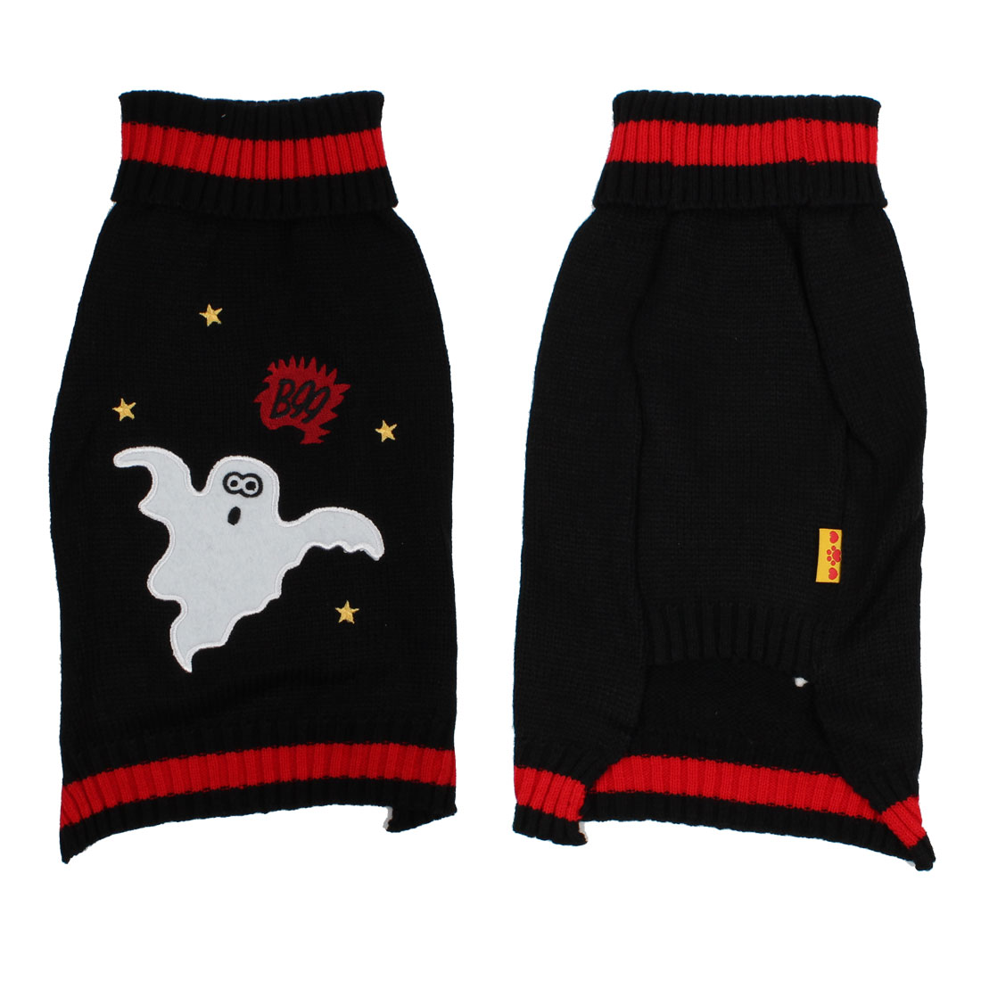 Winter Star Pattern Pet Dog Puppy Sweater Dress Hand Knitted Coat Black L