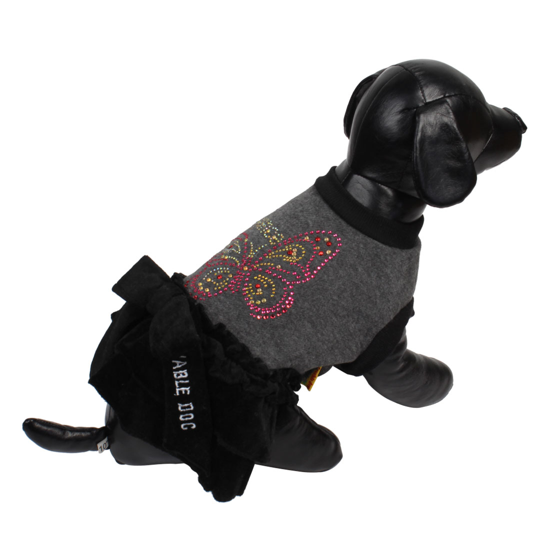 Winter Spring Butterfly Decor Pet Dog Cat Apparel Costume Dress Black XL