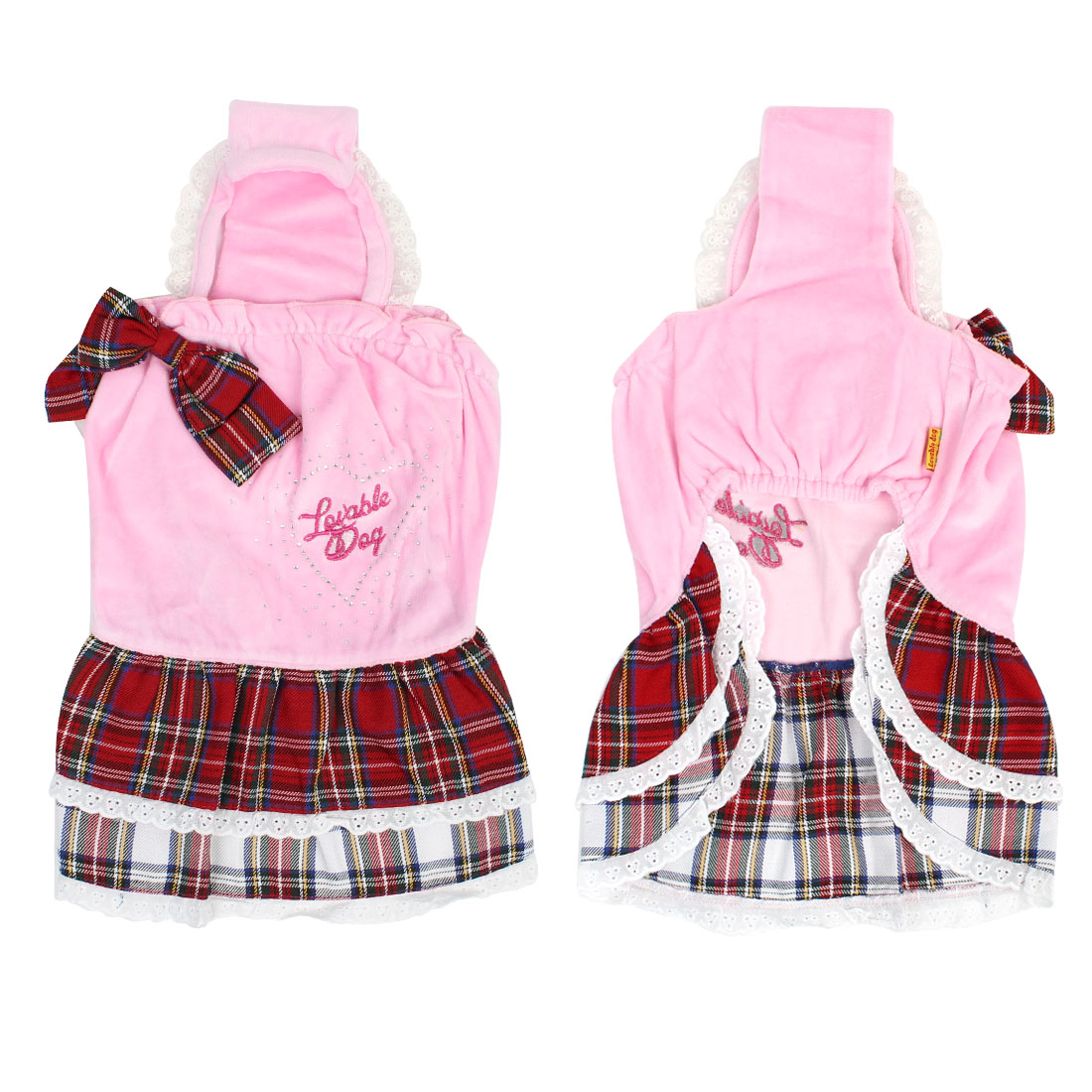 Pink Pet Dog Layered Tank Top Dress Apparel Clothing Skirts L