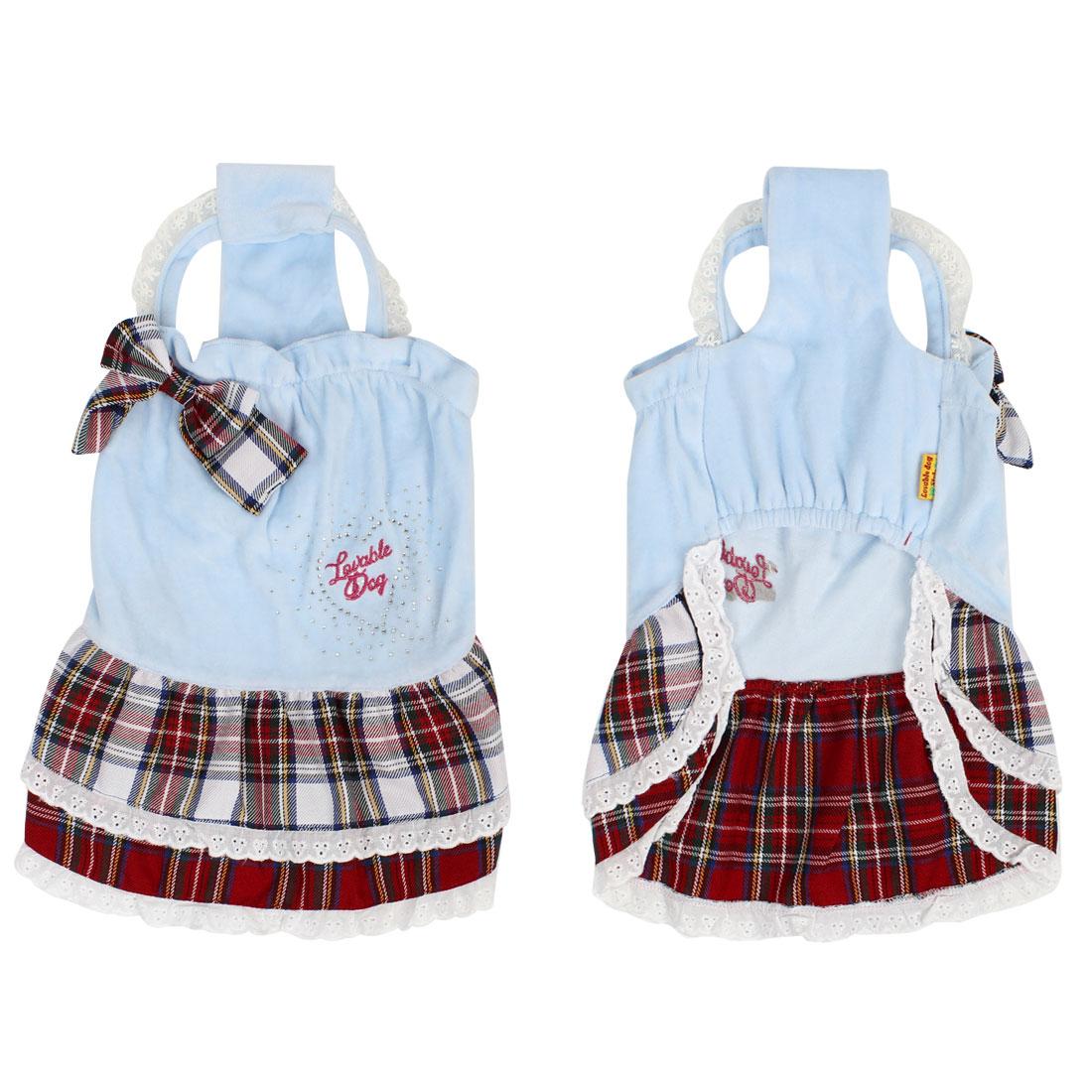 Blue Sleeveless Pet Dog Tank Top Skirts Apparel Clothes Dress S