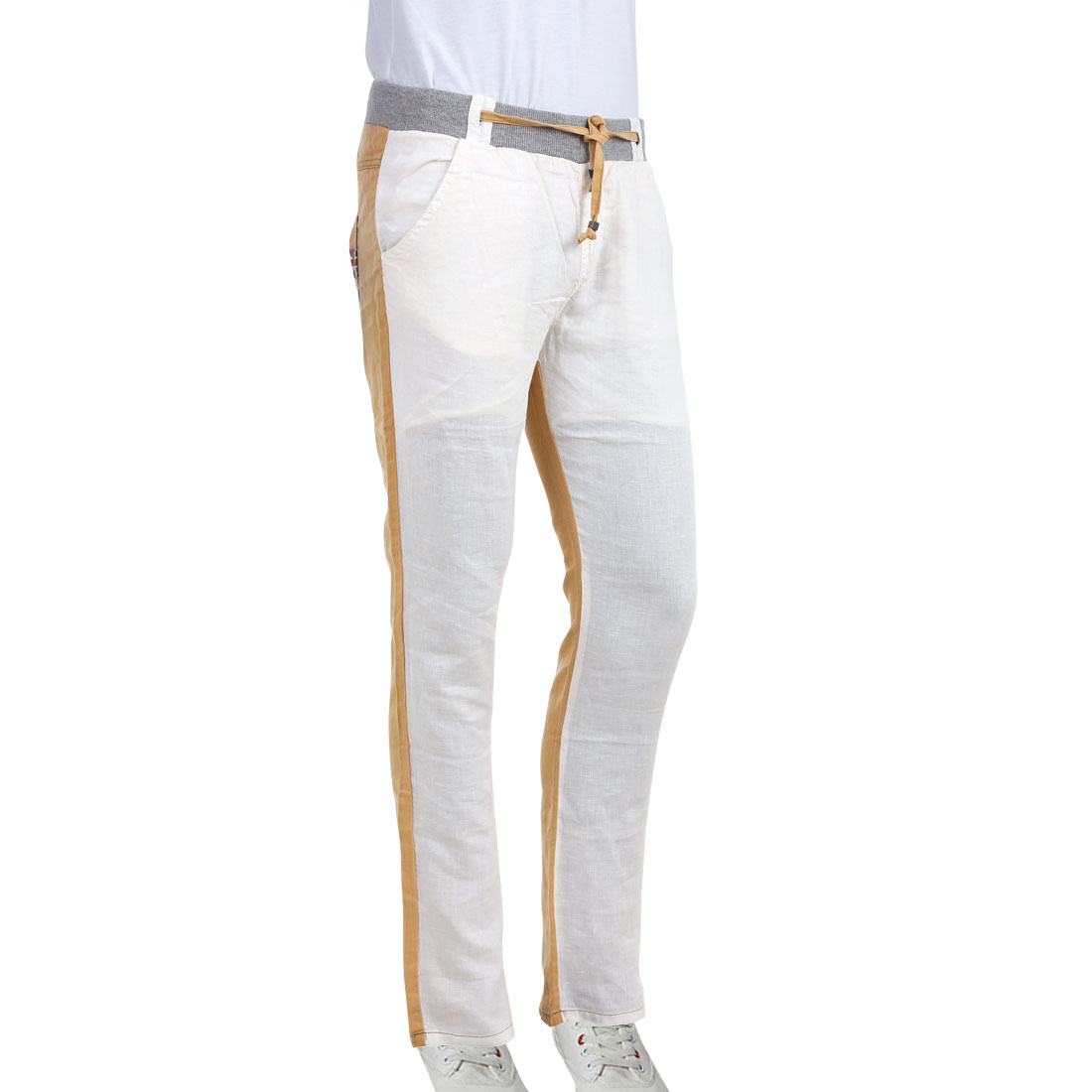 Men Drawstring Waist Stretchy Hip Patch Pockets White Camel Pants W29