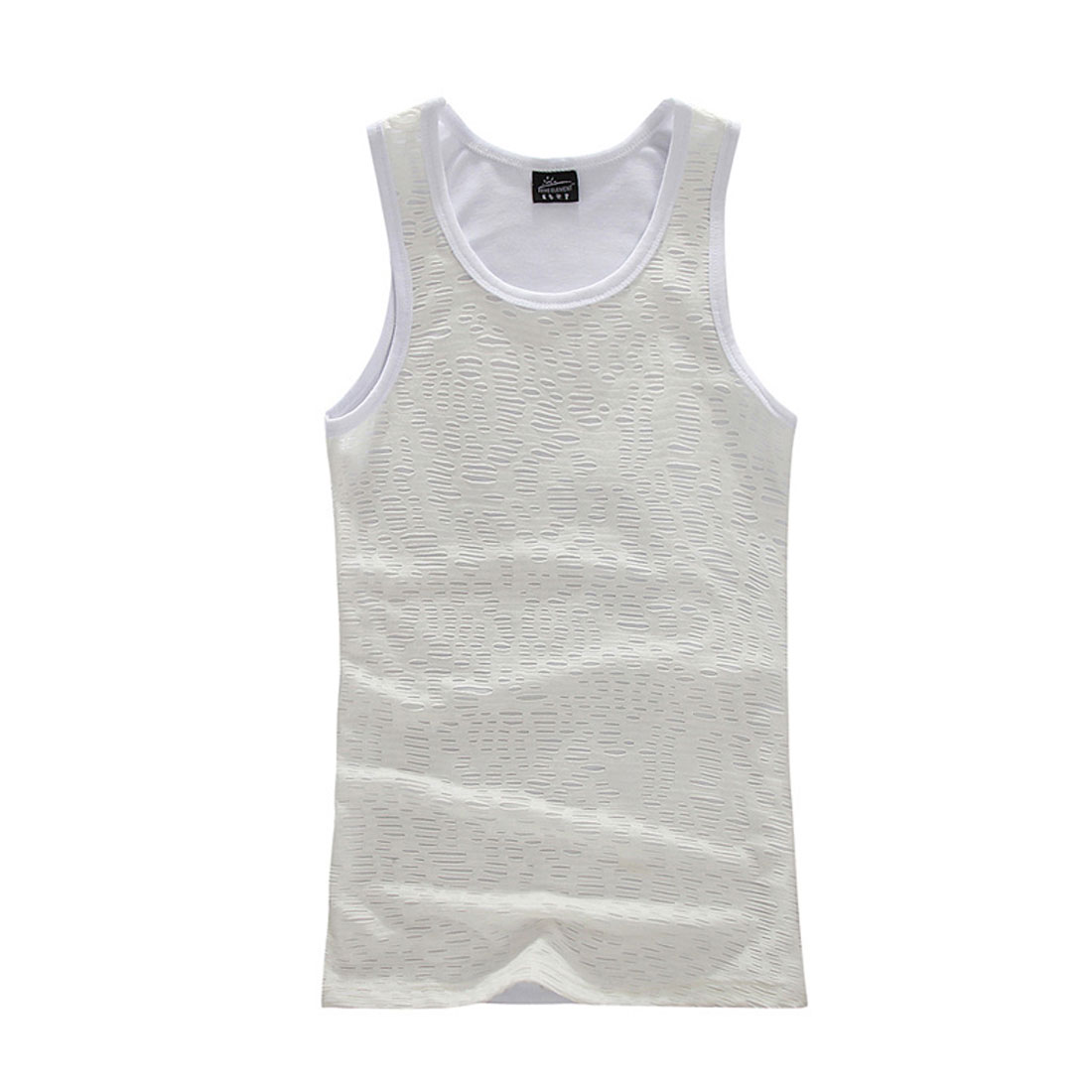 Men T-Shirt Semi Sheer Round Hem U Neck Form-fitting S White Tank Top