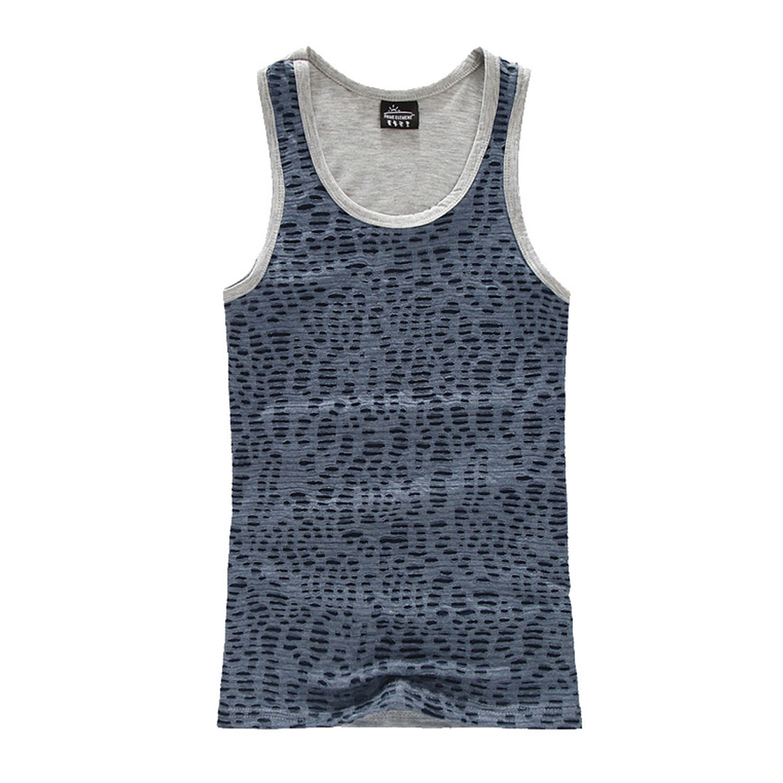 Men U Neck Round Hem Semi Sheer Form-fitting Light Gray S Tank Top Tee