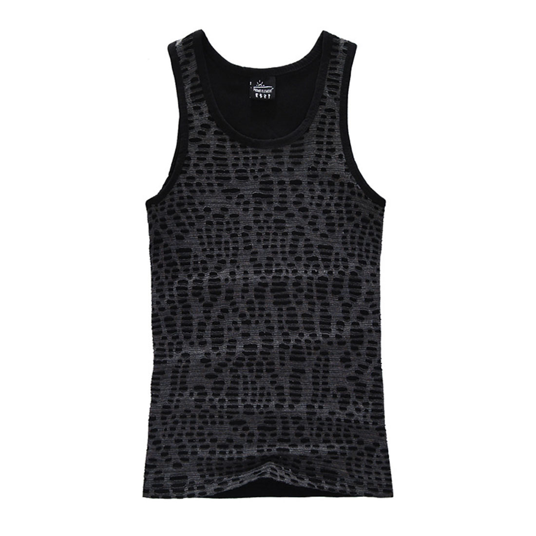 Men U Neck Semi Sheer Round Hem Form-fitting Black Tank Top T-Shirt S