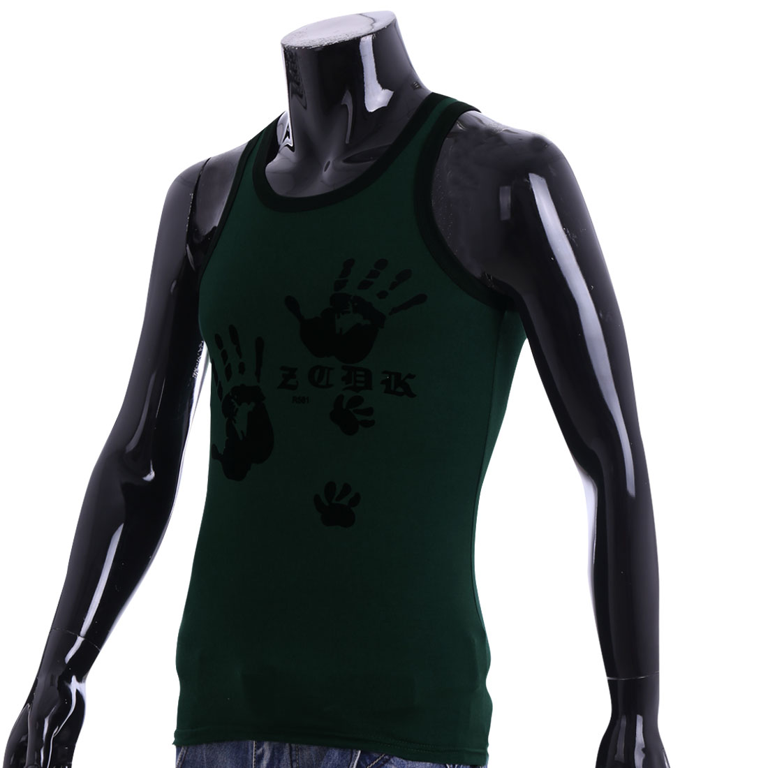 Men U Neck Sleeveless Summer Wearing Tank Top Dark Green S