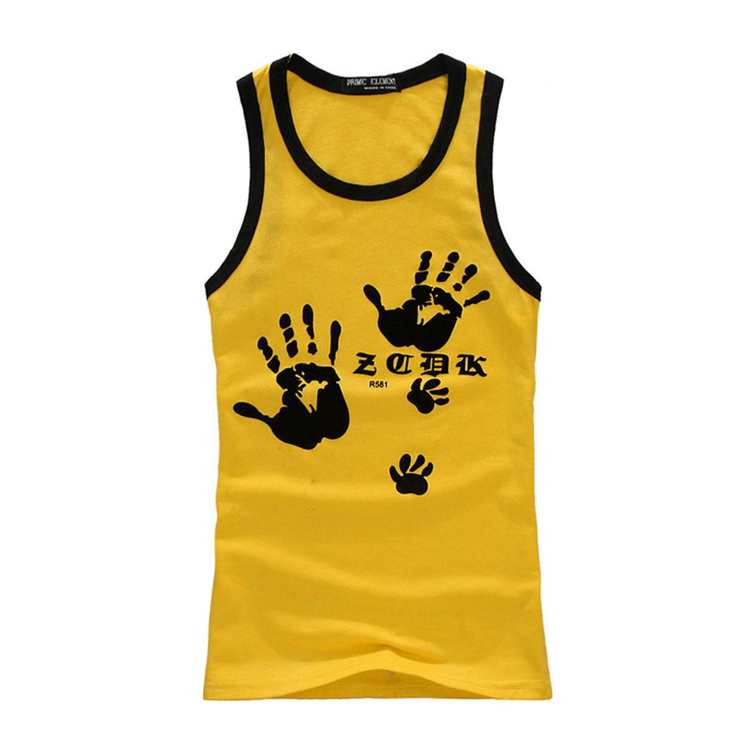 Men U Neck Sleeveless Letter Hand Prints Tank Top Yellow S