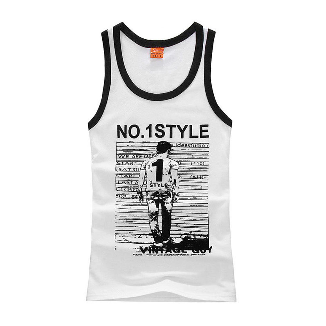 Mens Chic U Neck Portrait Pattern Slim Fit Casual White Tank Top S