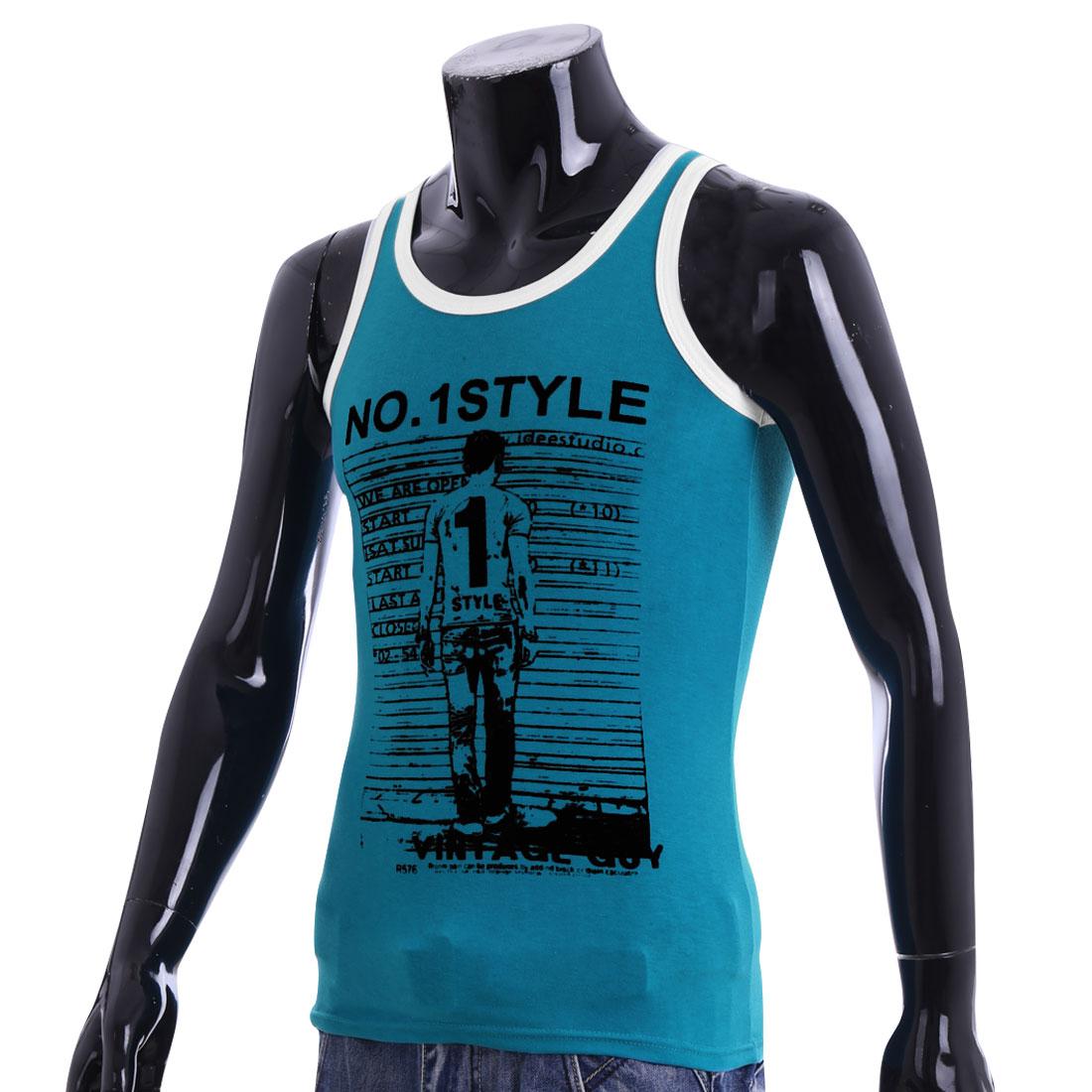 Men New Style U-Neck Design Portrait Pattern Sky Blue Casual Tank Top S
