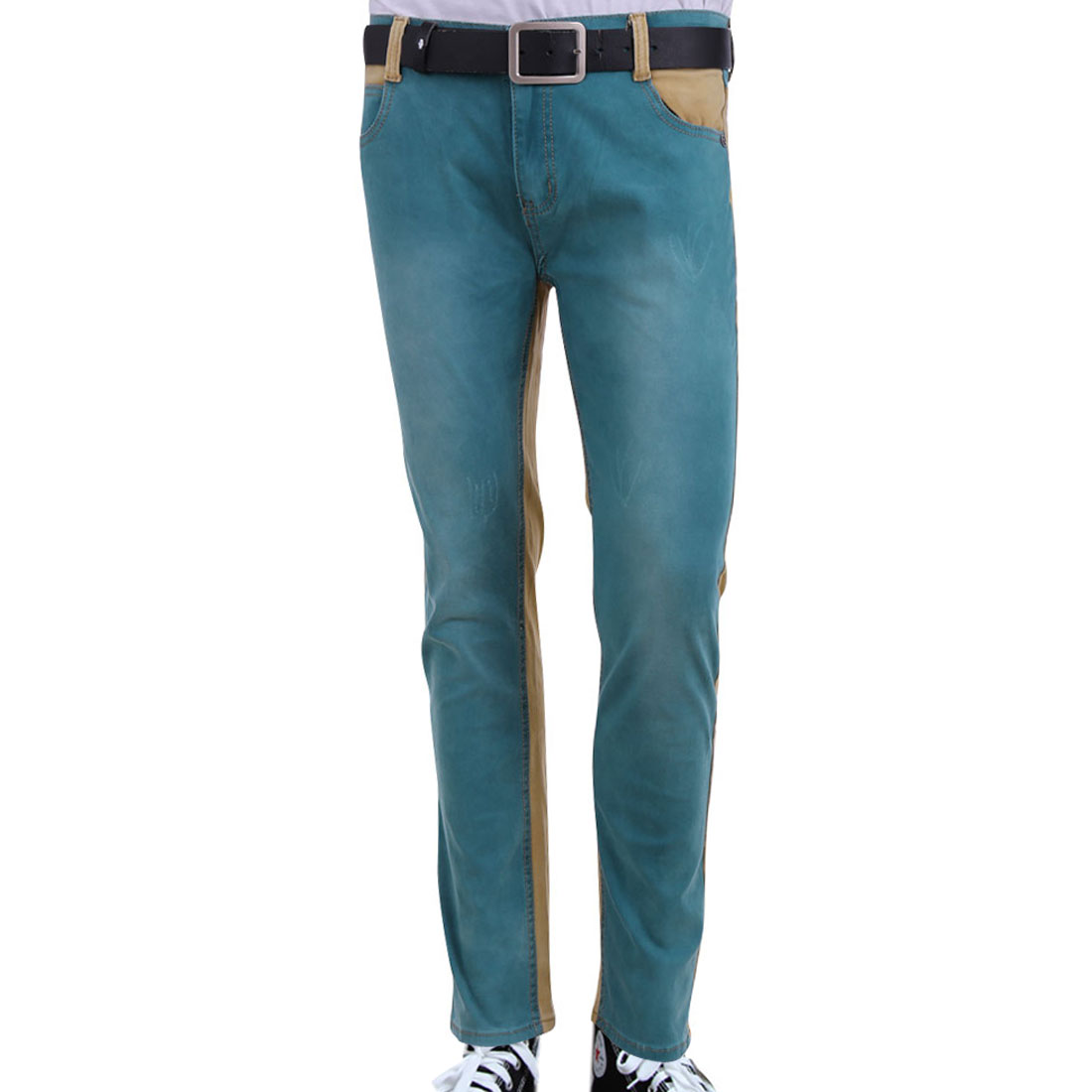 Men Close-fitting Destroyed Detail w Pockets Camel Teal Pants W31