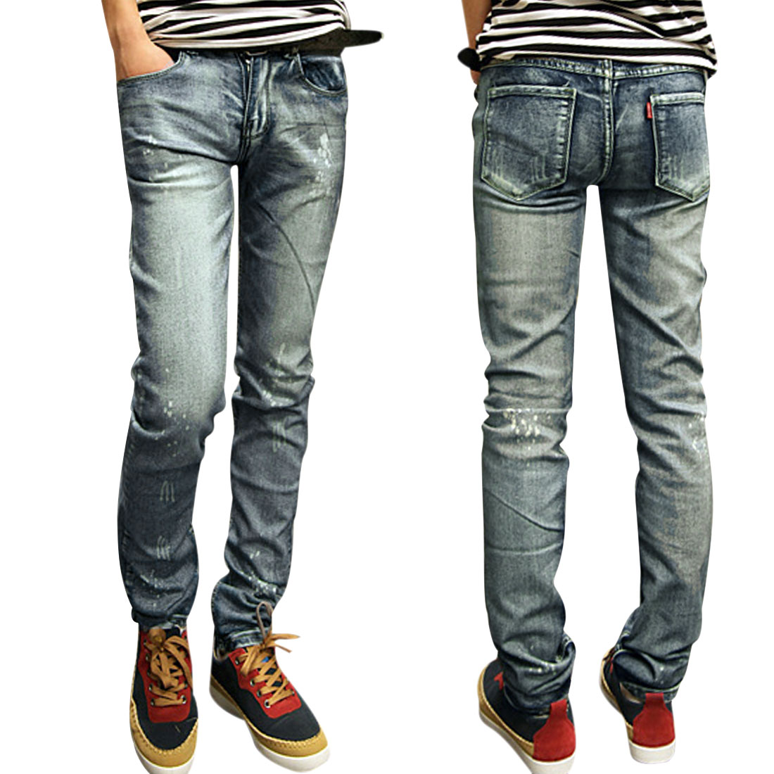 Men Zipper Fly Faded Spots Design Hip Pockets Deep Blue Jeans W31
