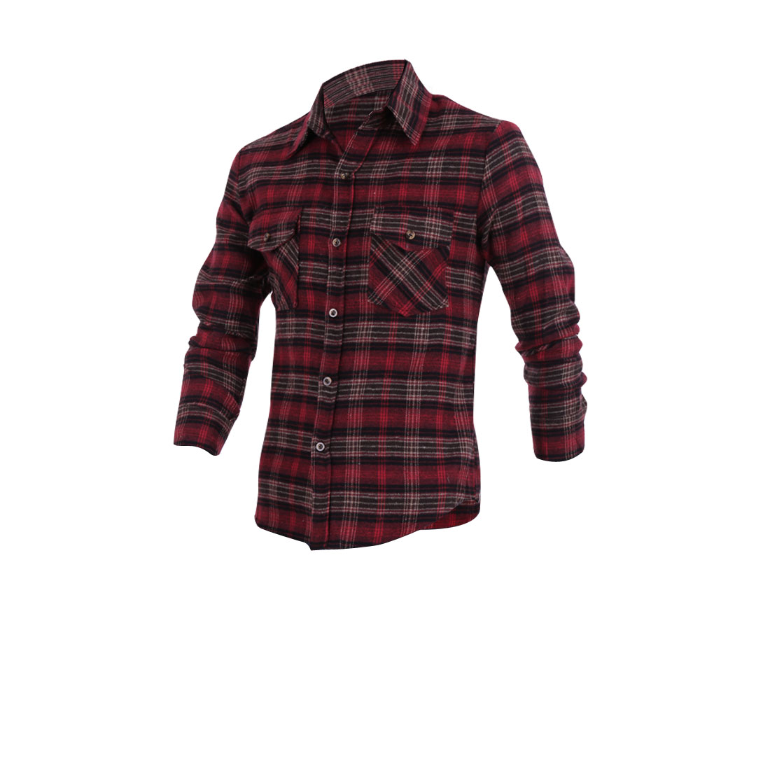 Men Burgundy M Point Collar Single Breasted Long Sleeves Casual Shirt