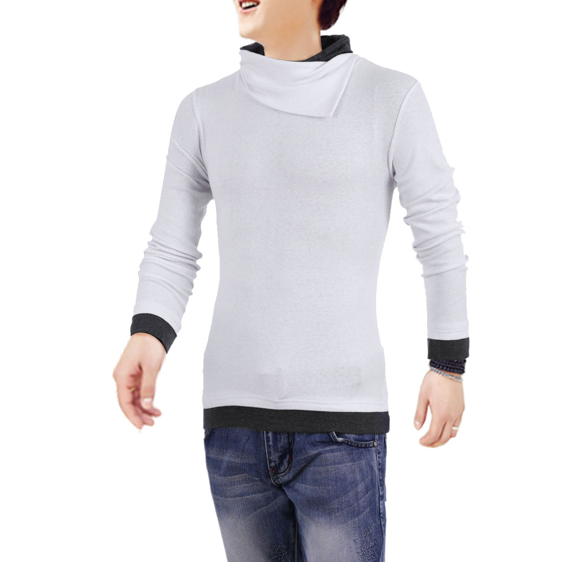 Men Cowl Neck Pullover Long Sleeve Color Blocking Shirt White S