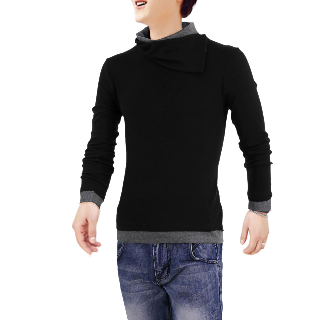 Men Cowl Neck Pullover Long Sleeve Stretchy Casual Shirt Black S
