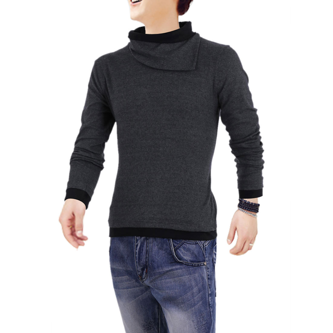 Men Cowl Neck Pullover Long Sleeve Summer Wearing Shirt Gray S
