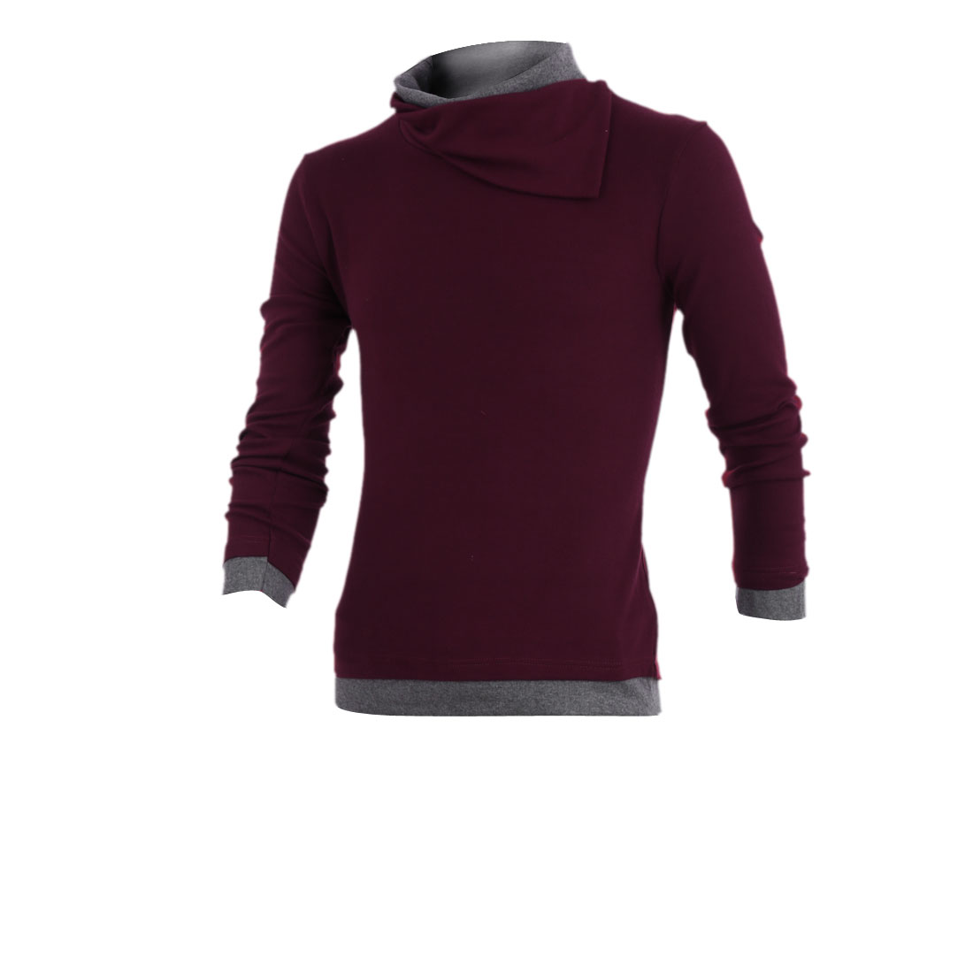 Men Cowl Neck Long Sleeve Patchwork Casual Shirt Burgundy S