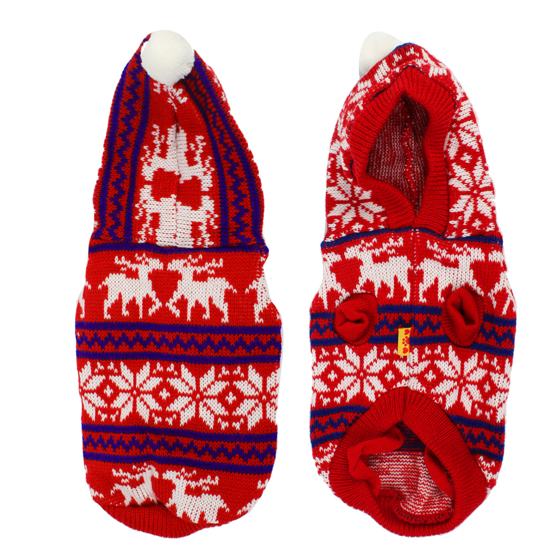 Reindeer Pattern Knitted Chihuaha Dog Hooded Sweater Clothes Red Blue M