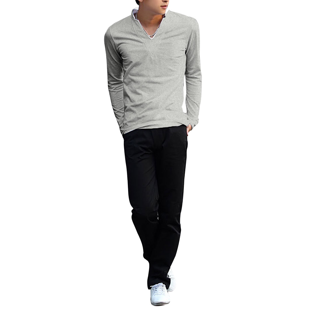 Men Stand Collar Pullover Long Sleeve Summer Wearing Shirt Light Gray S