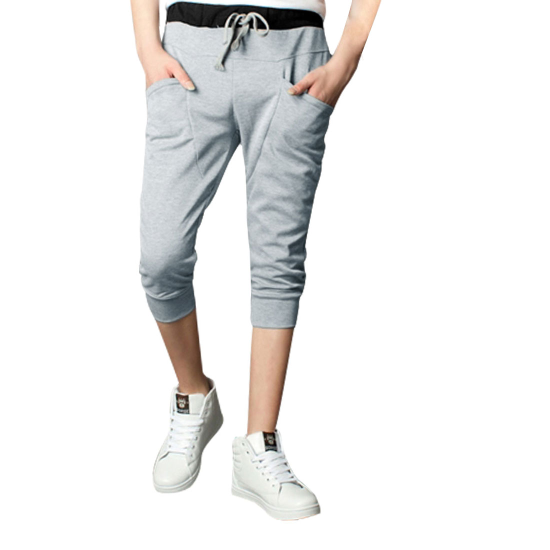 Men Drawstring Elastic Waist Pockets Front Capris Pants Light Gray W27