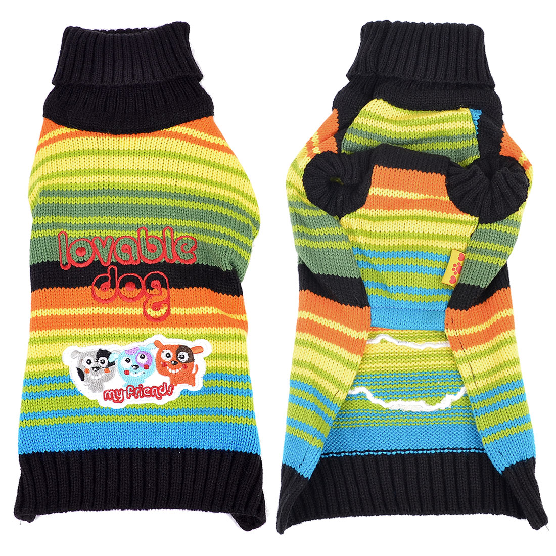 Colored Turtleneck Letter Printed Pet Dog Sweater Clothing Apparel L