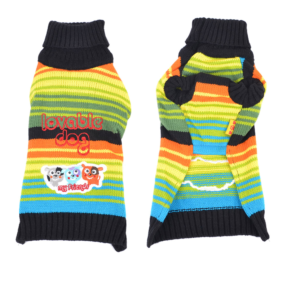 Multicolor Warm Turtleneck Letter Print Knitted Chihuaha Dog Sweater Clothes XL