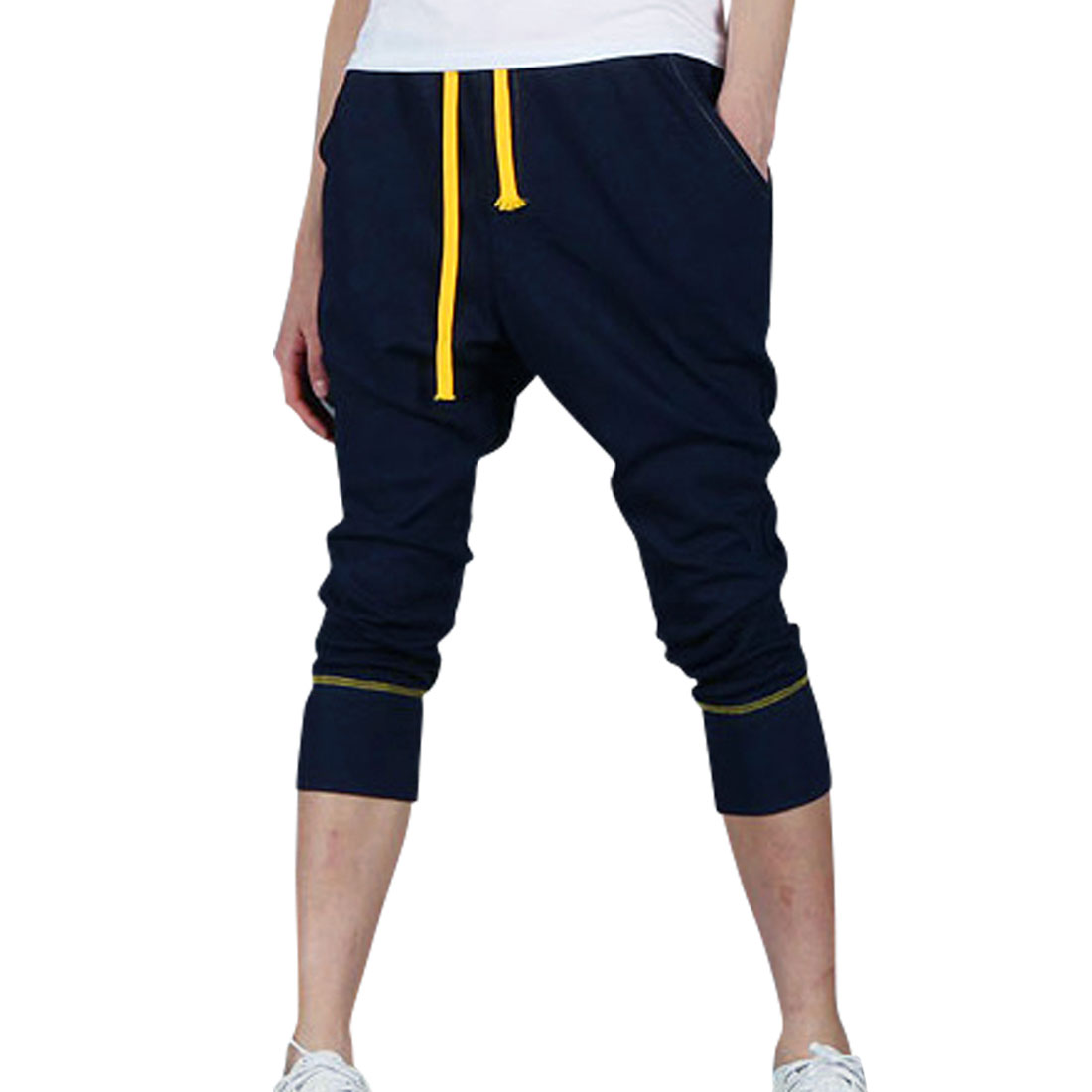 Men Pockets Stretchy Adjustable Drawstring Capris Pants Dark Blue W28