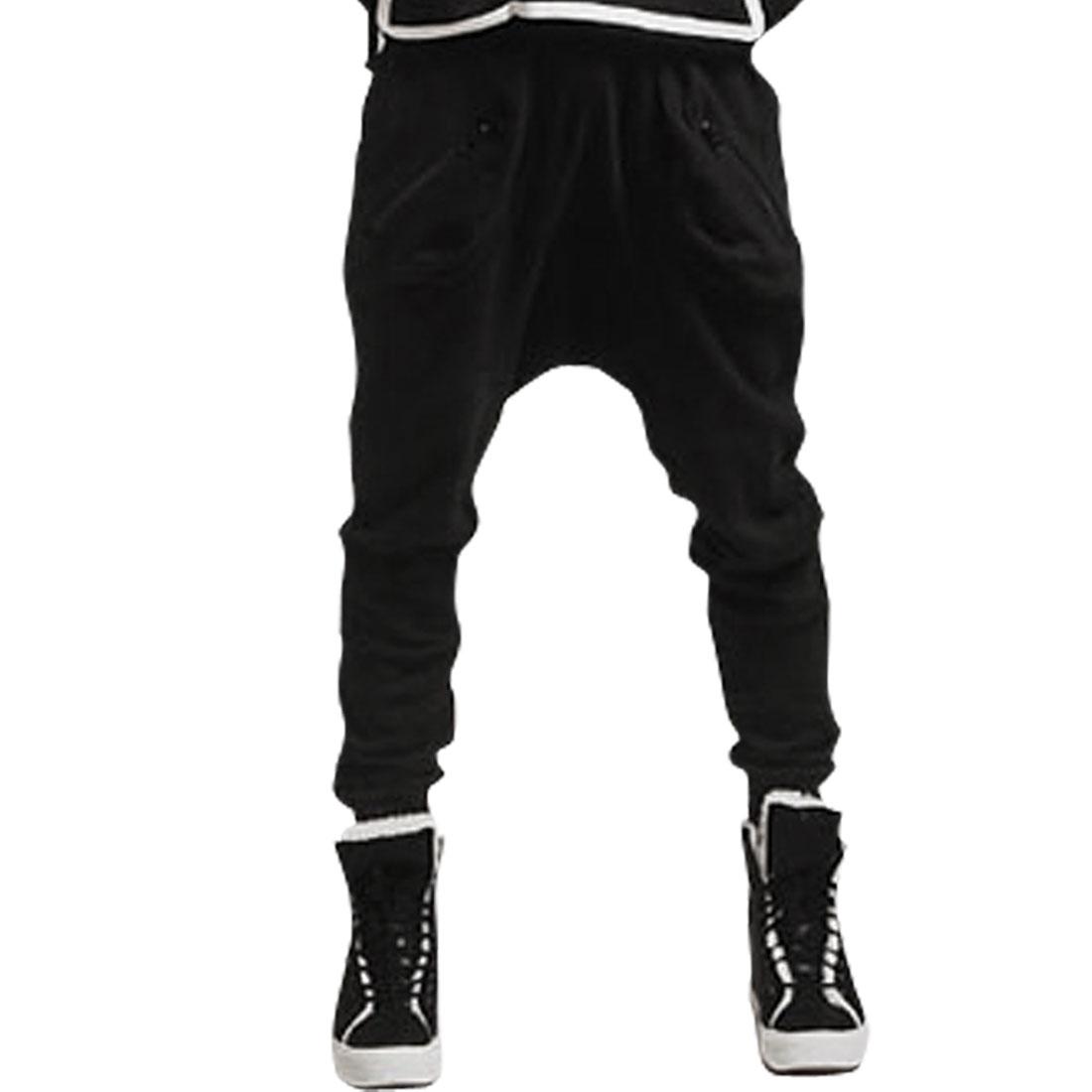 Man Drawstring Zipper Decor Hip Pockets Long Leisure Trousers Black W34
