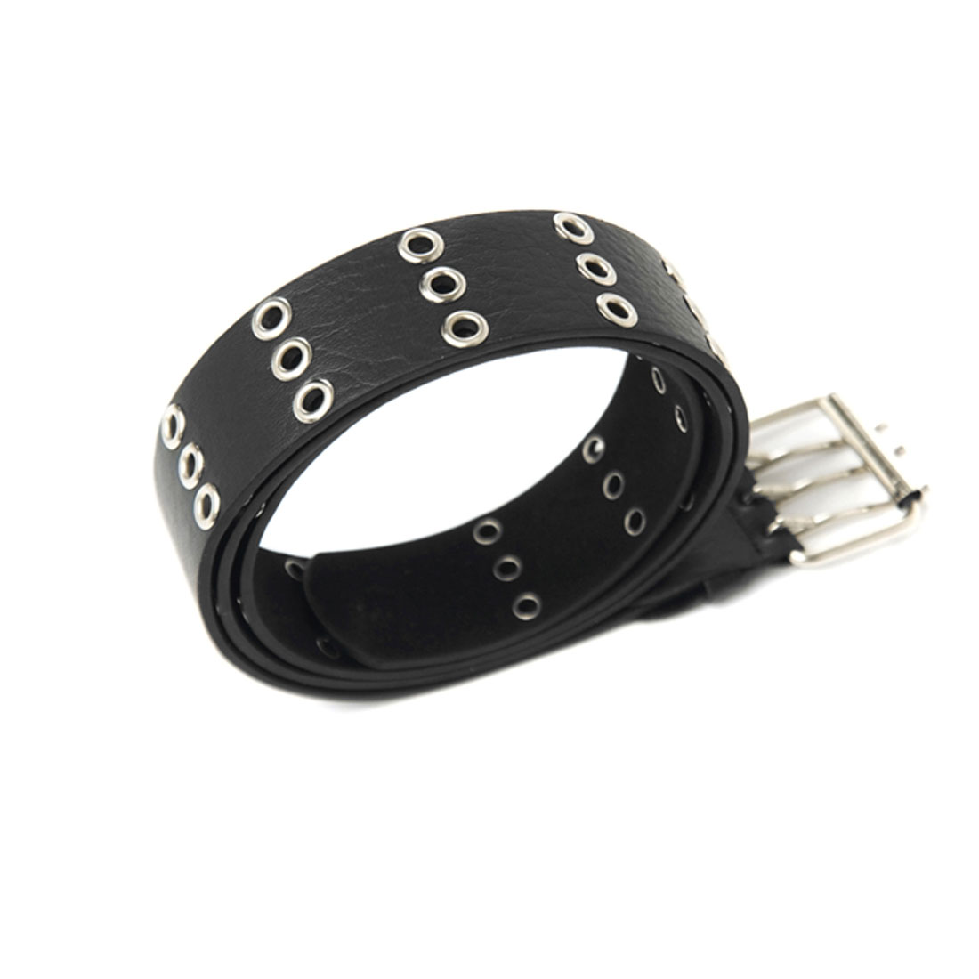 Mens Black Three Pin Buckle Simple Style Faux Leather Waist Belt