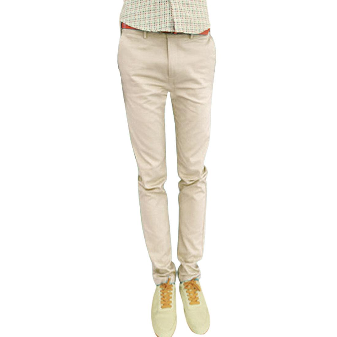 Men Waistband Loop Zip Closure Hip Pockets Casual Pants Beige W32