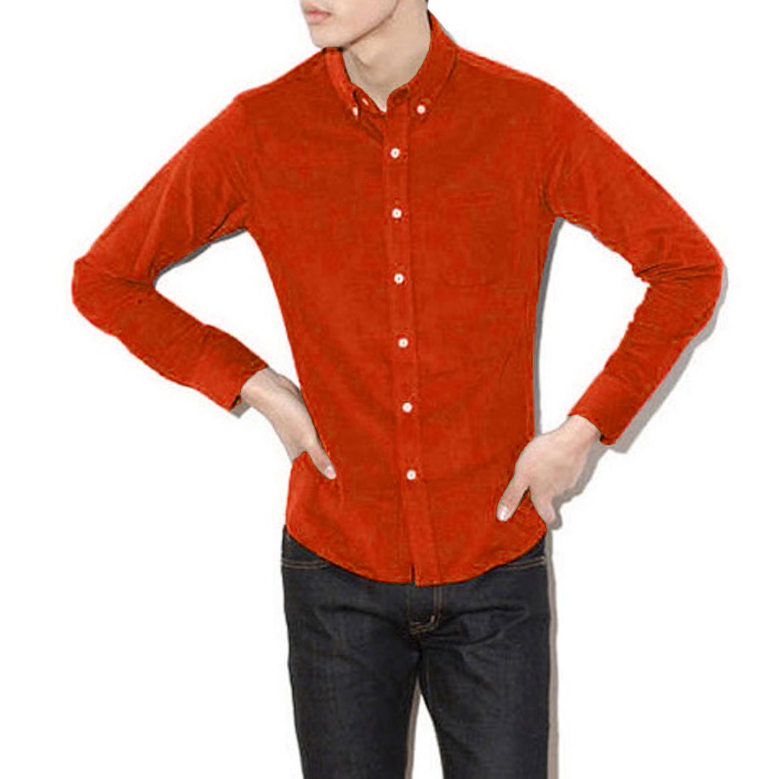 Mens Fashion Point Collar Long Sleeve Button Down Orange Corduroy Shirt M