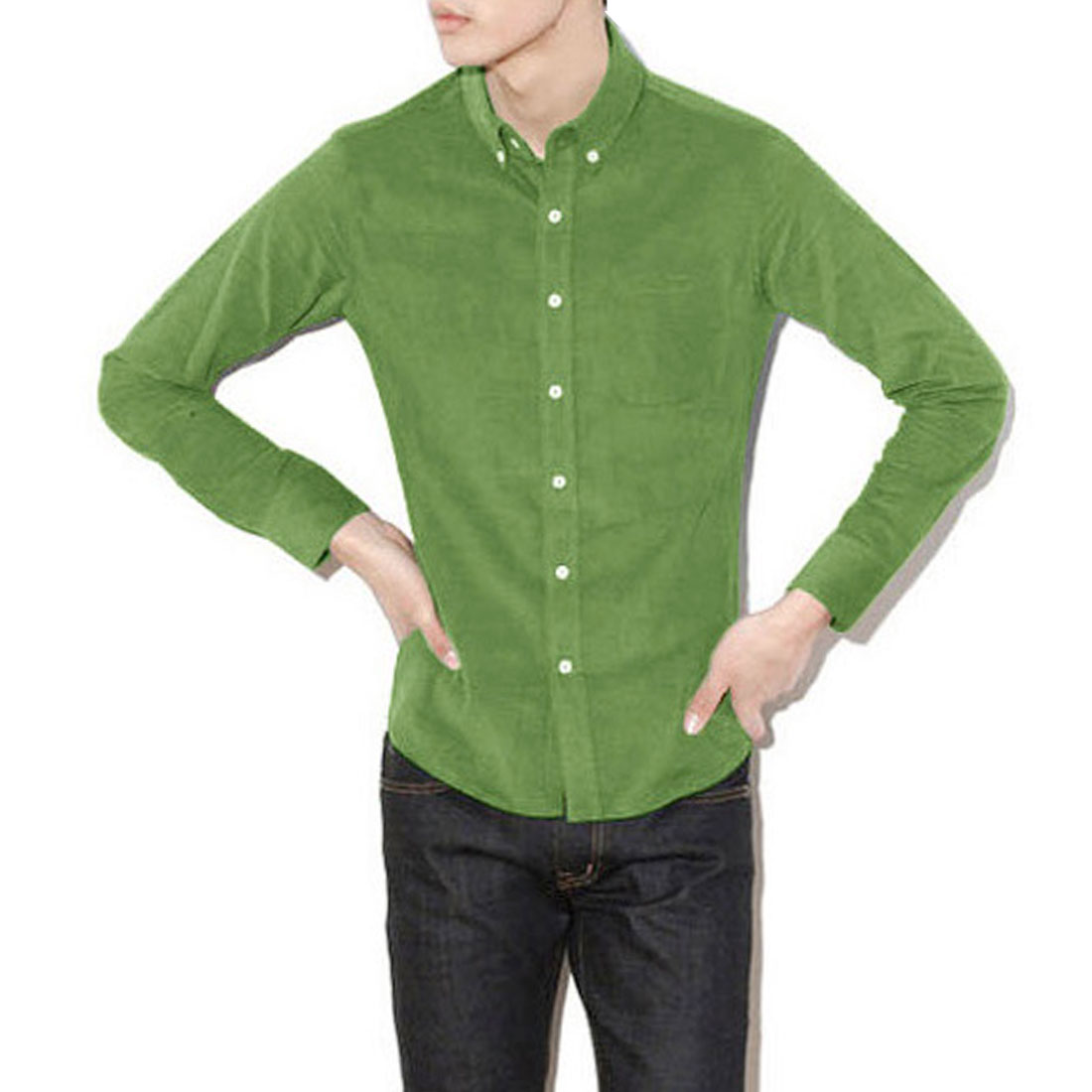 Men Point Collar Long Sleeve Button Down Design Light Moss Shirt M