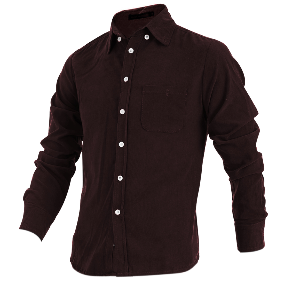 Mans Korea Style Long Sleeve Button Down Front Brown Corduroy Shirt M