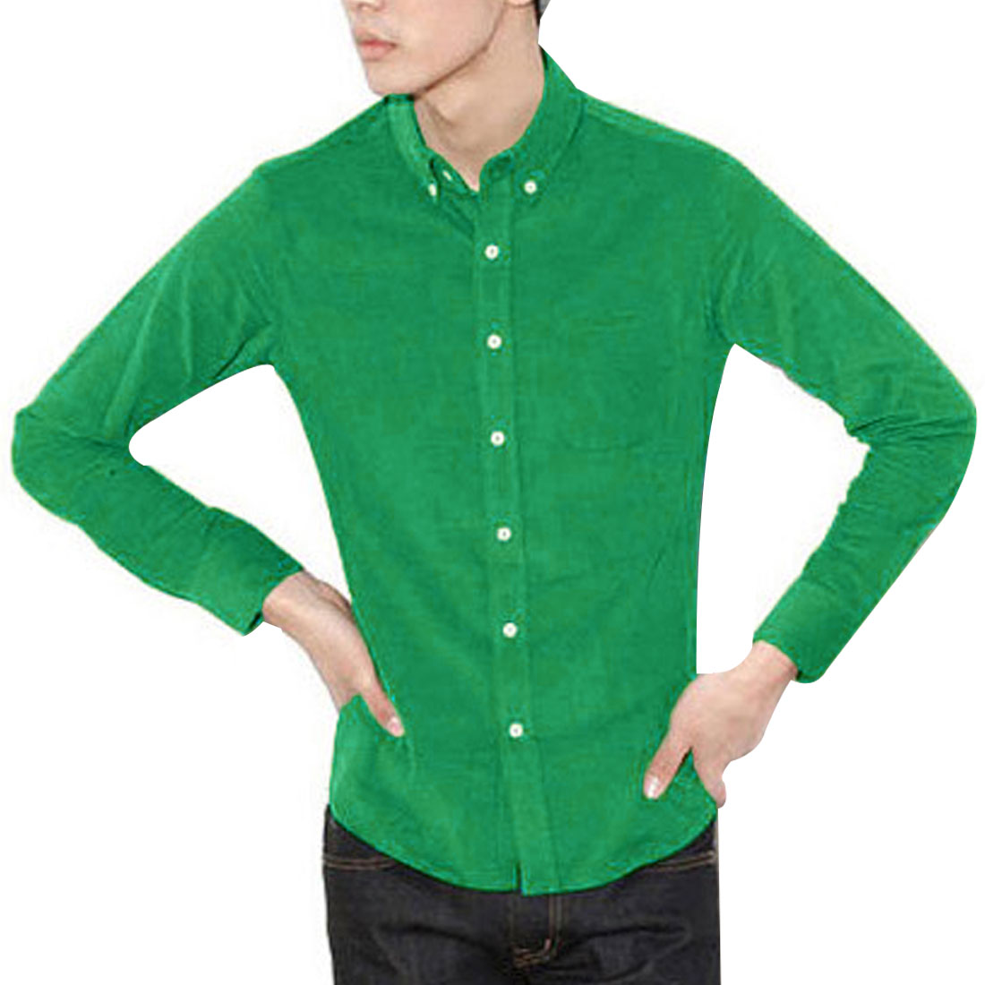 Stylish Single-Breasted Front Long Sleeve Green Corduroy Shirt for Man M