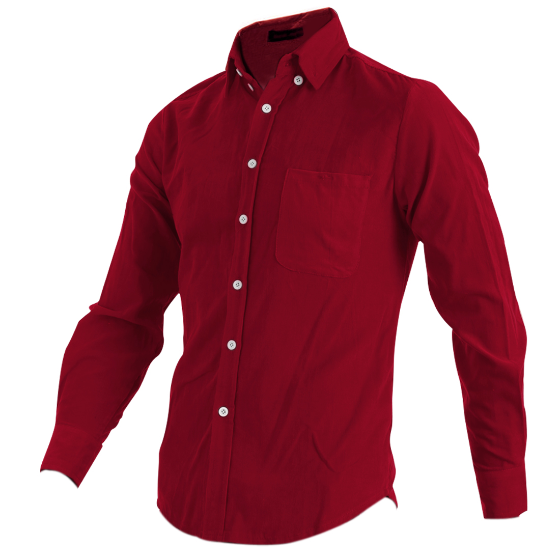 Mens Fashion Warm Red Point Collar Long Sleeve Button Down Shirt M