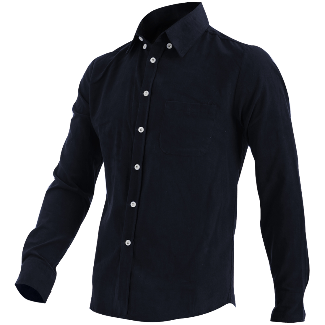 New Fashion Point Collar Long Sleeve Dark Blue Corduroy Shirt M for Man