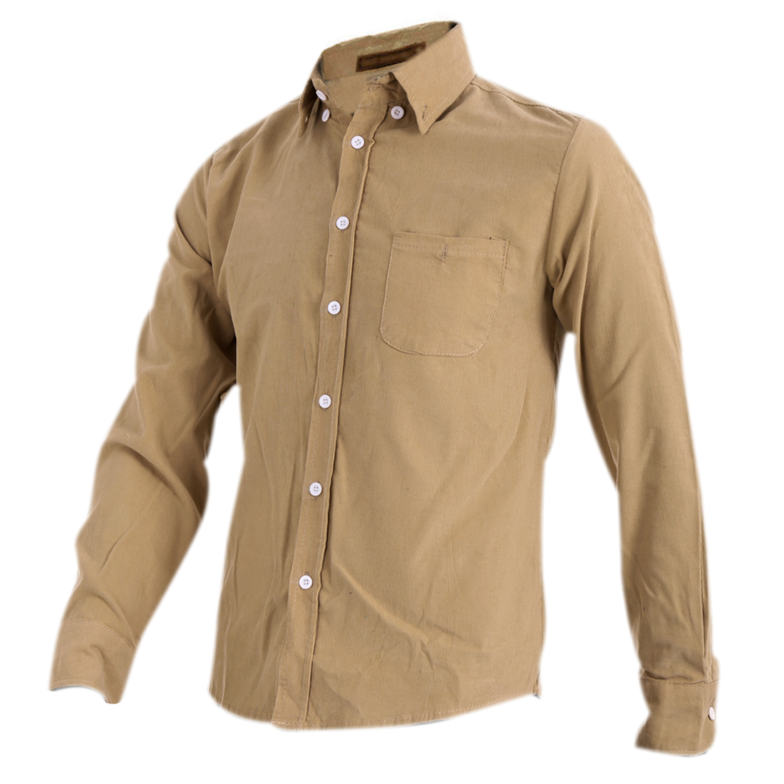 Mens Chic Khaki Point Collar Long Sleeve Button Down Front Spring Shirt M