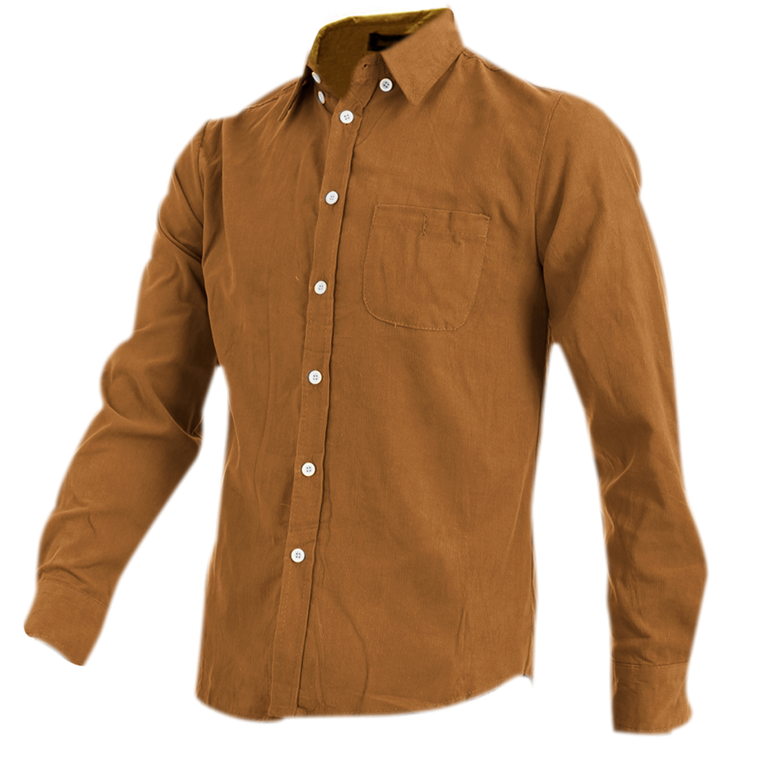 Mans Newly Long Sleeve Single-Breasted Front Ochre Corduroy Shirt M