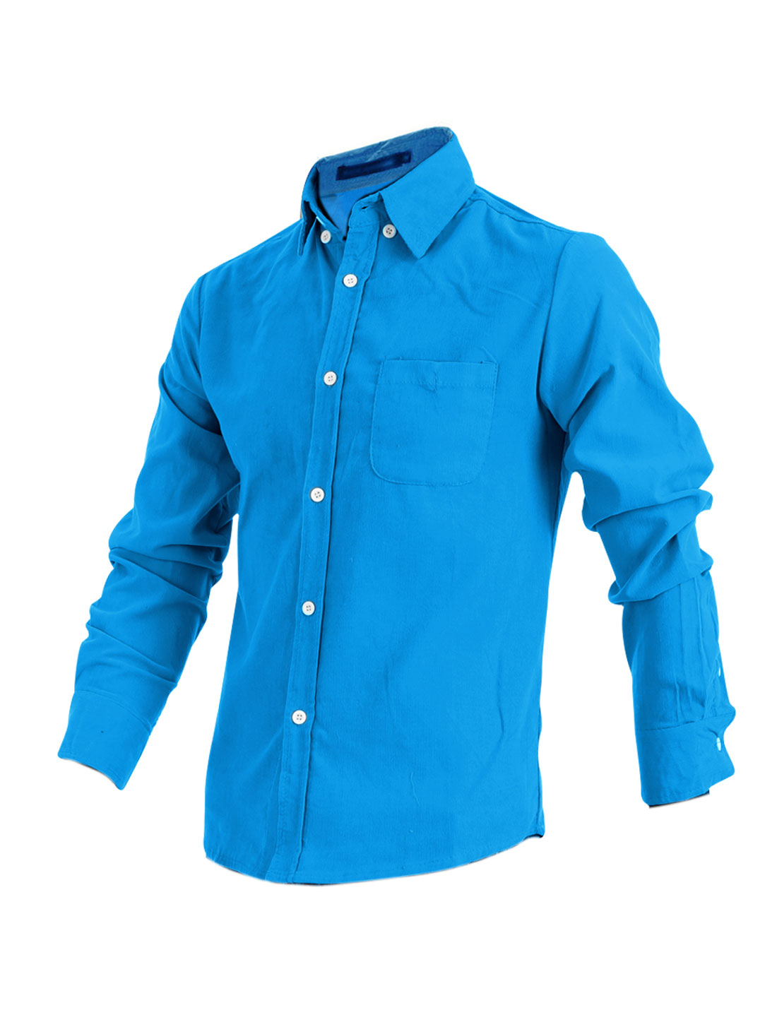 Fashionable Sky Blue Point Collar Long Sleeve Button Down Shirt for Man M