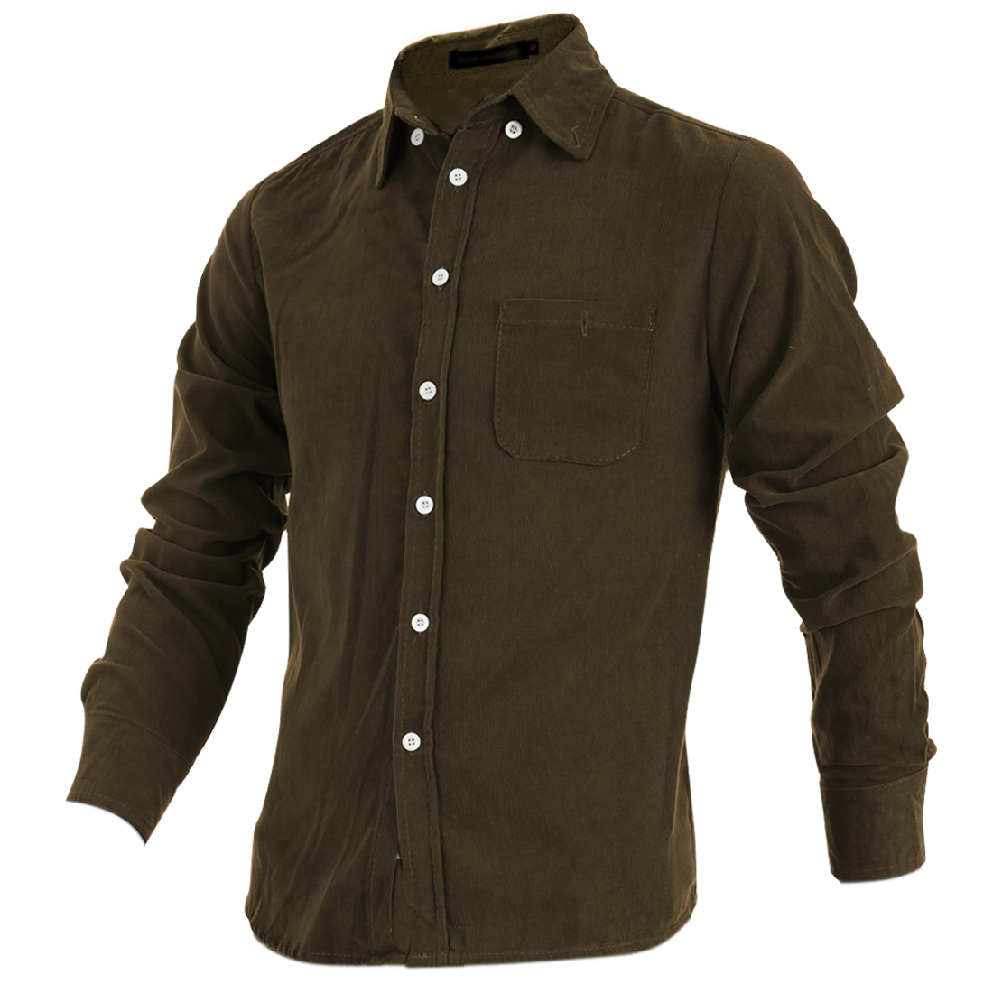 New Style Pure Olive Green Long Sleeve Button Down Corduroy Shirt for Man M