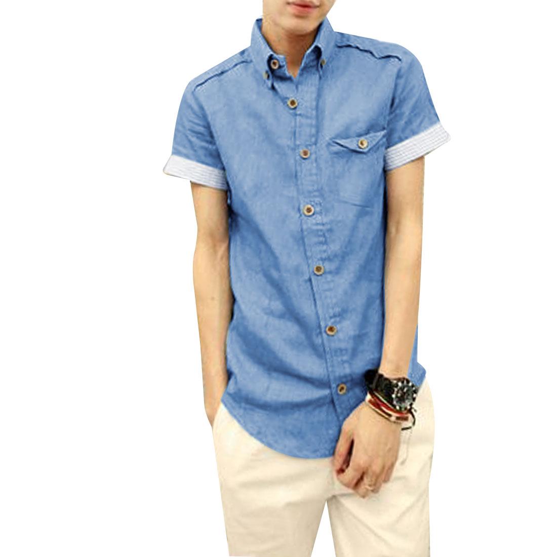 Men Single Breasted Front Stripes Pattern Cuff Demin Blue Shirt M