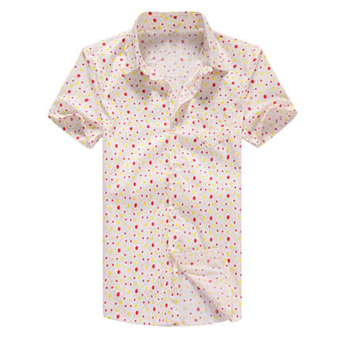 Men Short Sleeve Dots Pattern Decor Chest Pocket Buttoned White Shirt M