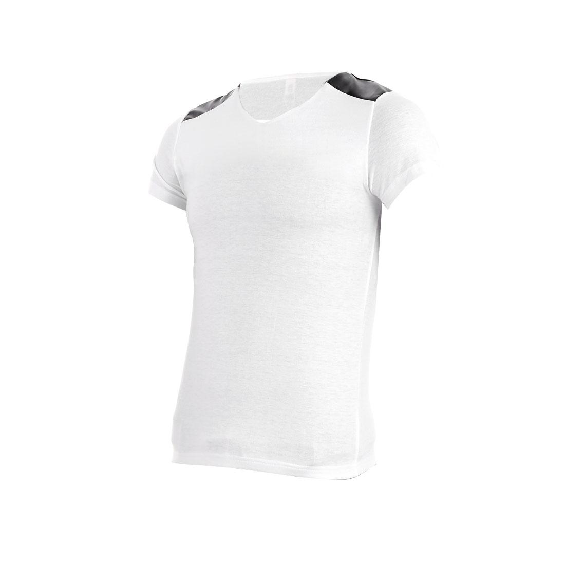 Men Faux Leather Panel Short Sleeve Fashion Shirt White S