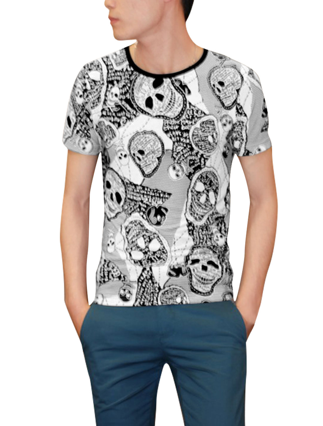Men Pullover Crew Neck Skull Prints Strectchy White Tee Shirt S