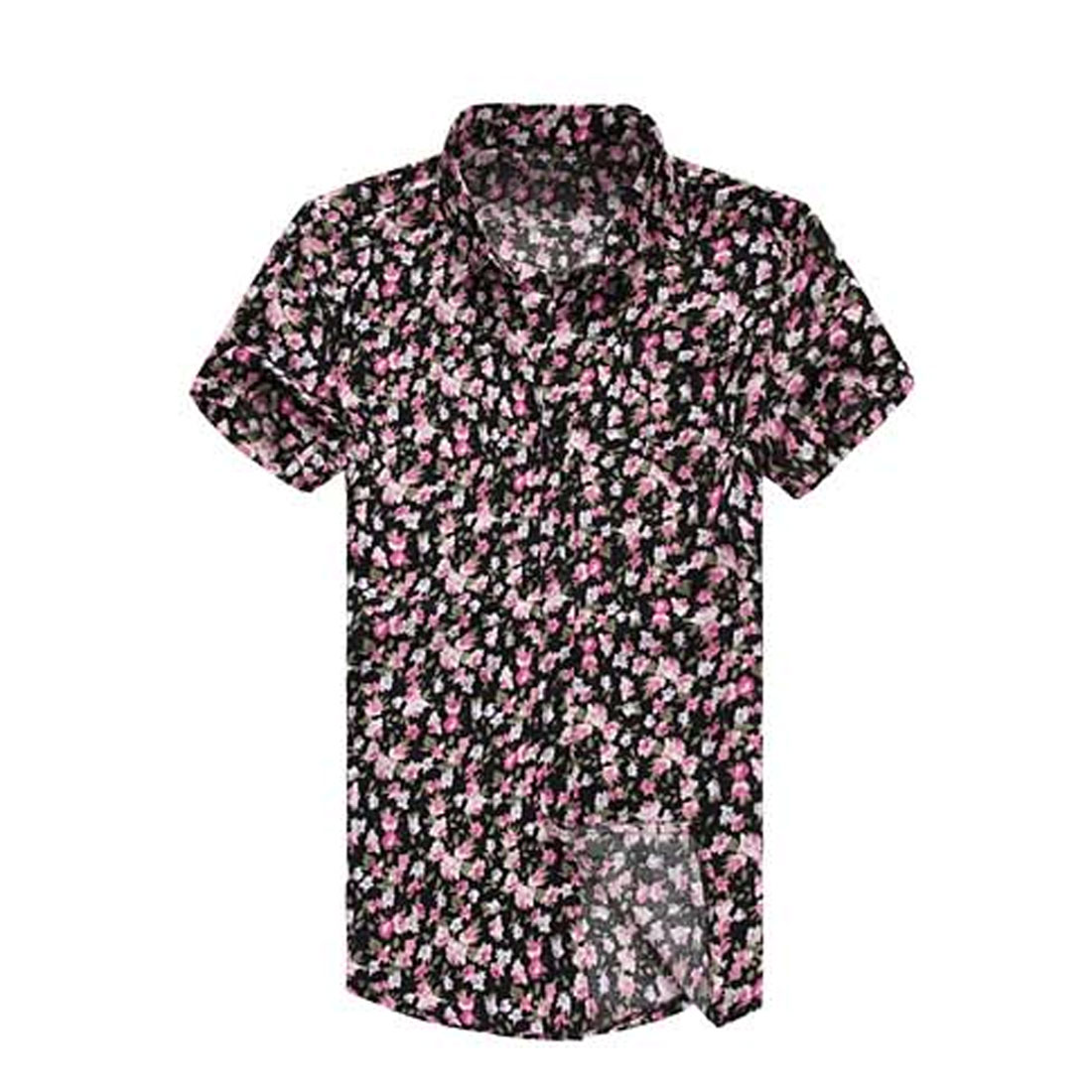 Men Short Sleeve Single Breasted Front Floral Pattern Shirt Pink Green S