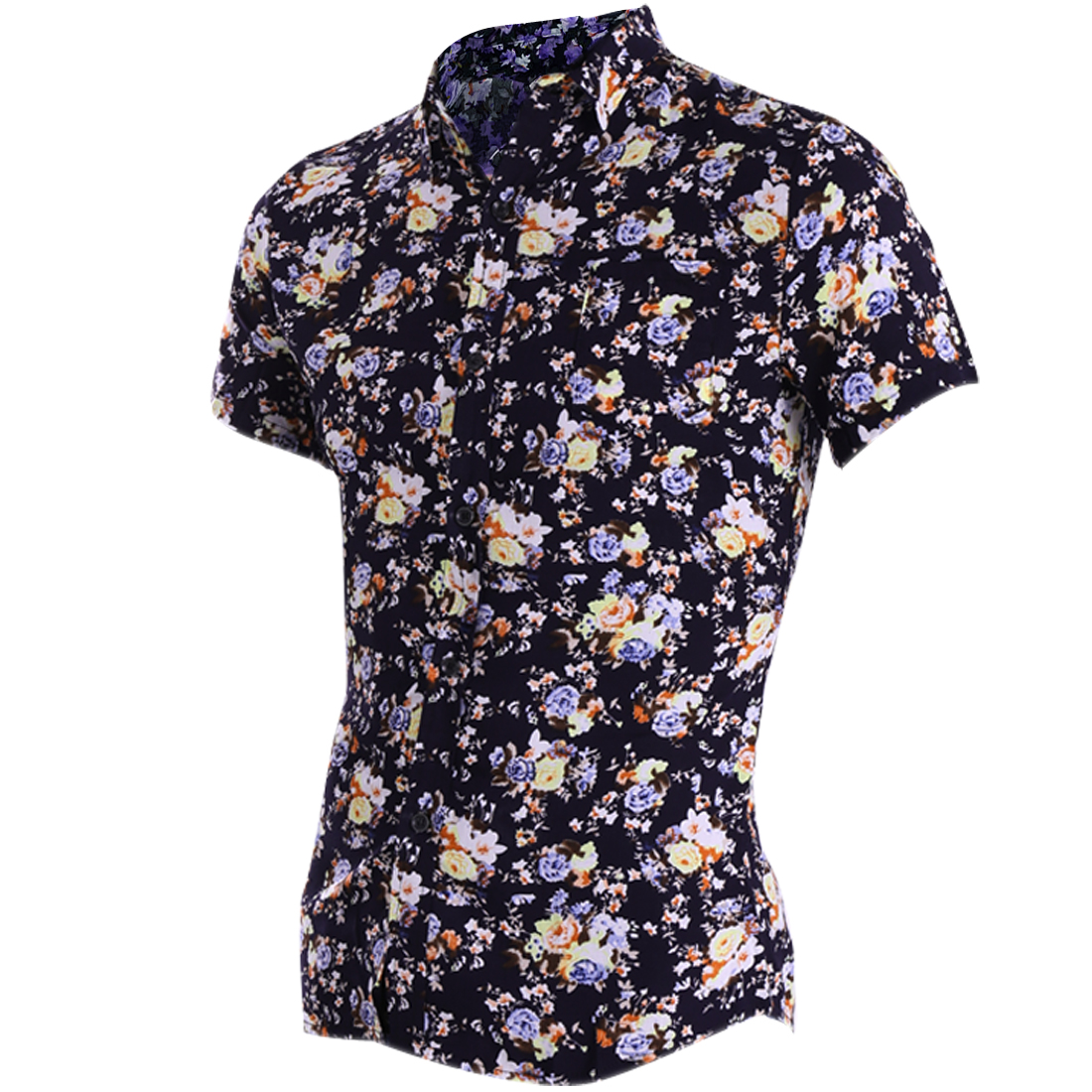 Men Single Breasted Floral Prints Decor Chic Blue Yellow Tee Shirt S