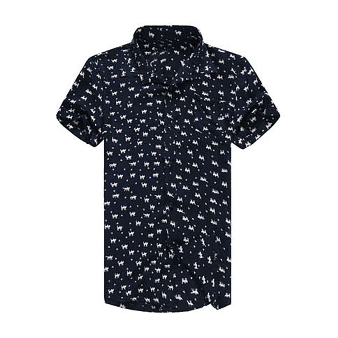 Men Leisure Short Sleeve Cats Pattern Single Breasted Short Navy Blue M