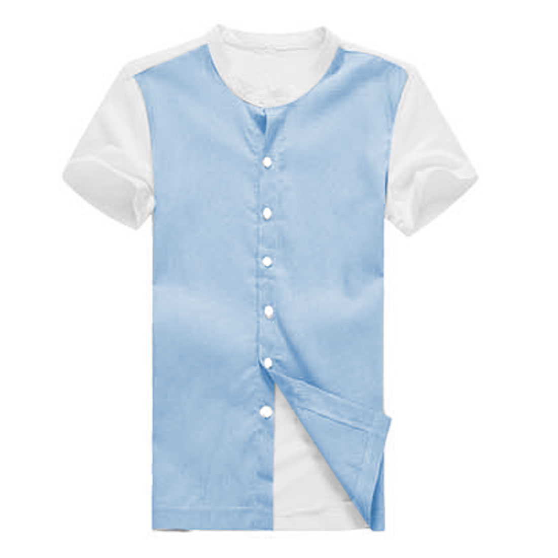 Men Chic Crew Neckline Short Sleeve Contrast Color Light Blue White Shirt S