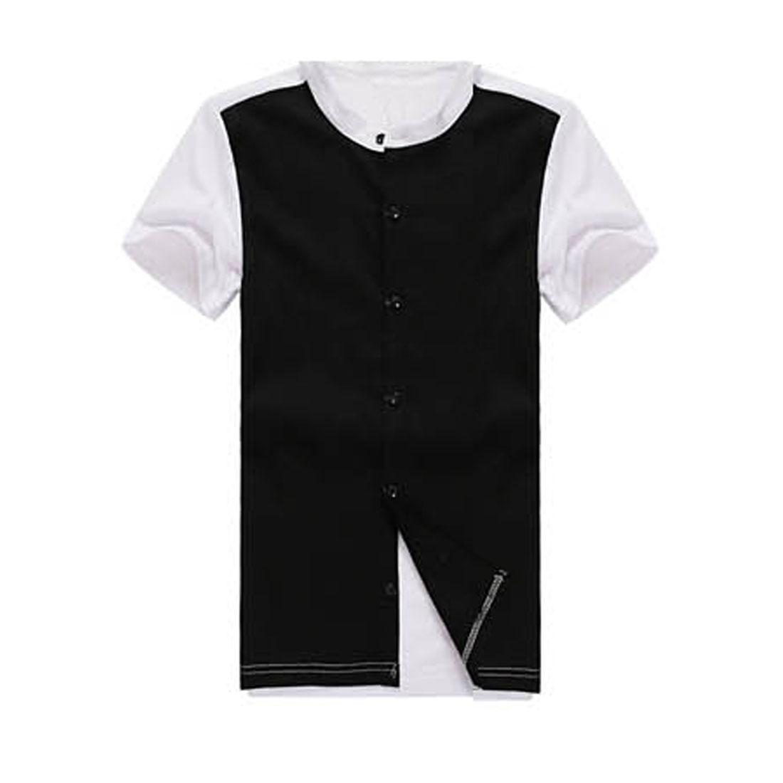 Mens New Style Crew Neck Short Sleeve Button Down Splice Black White Shirt S