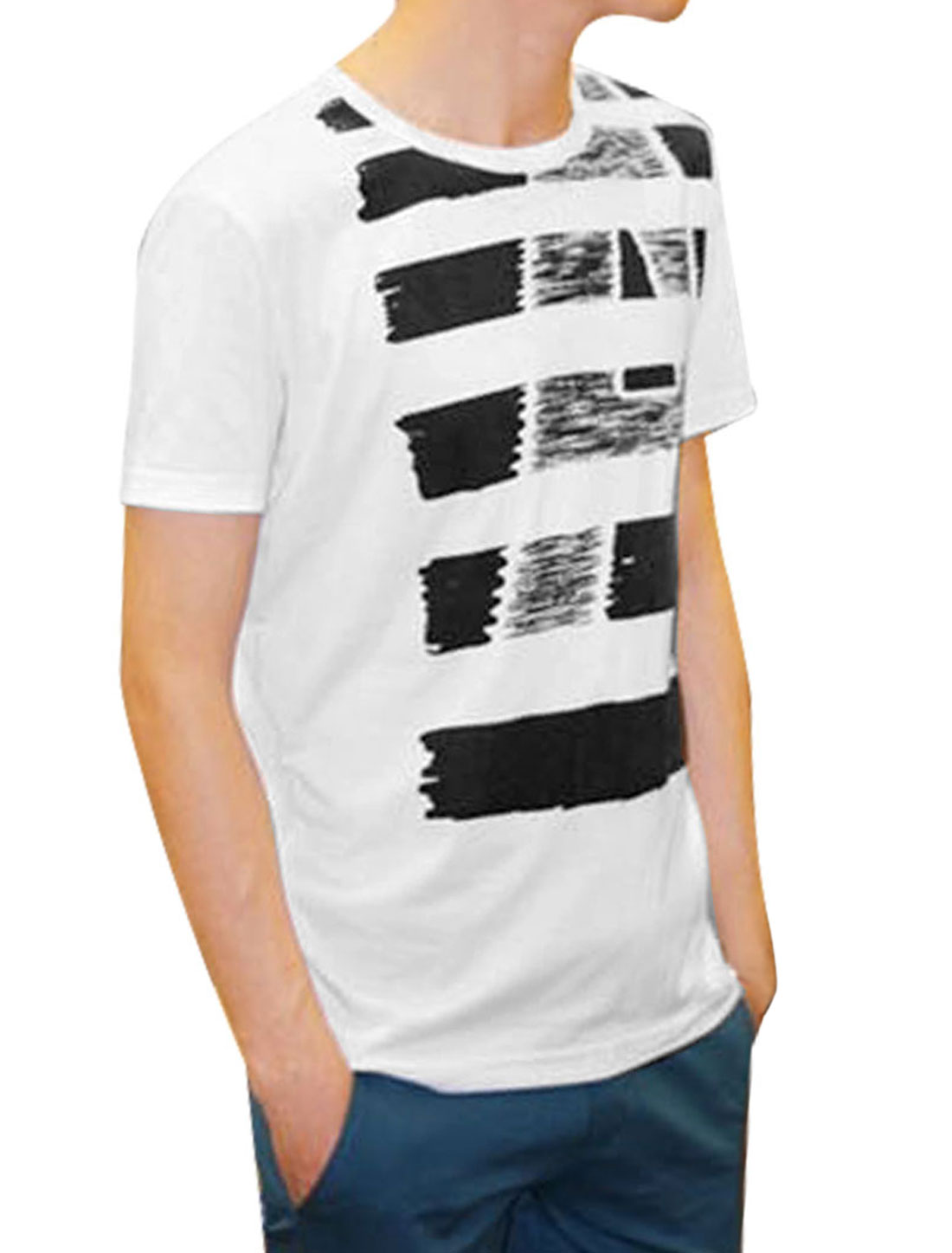 S Men Short Sleeves Round Neck Letters Pattern White Fashion T-Shirt
