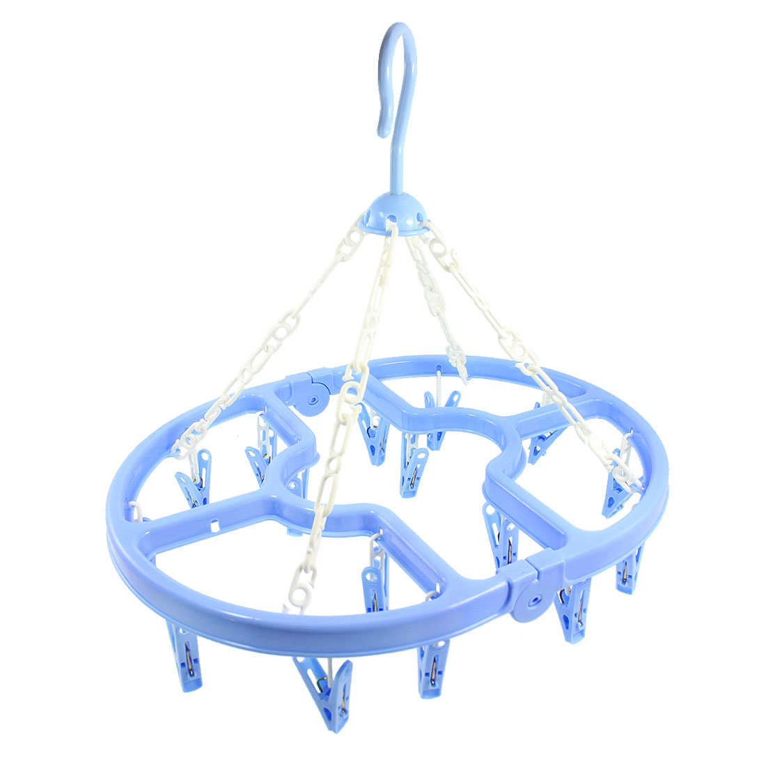 Home Laundry Light Blue Plastic Oval Frame 16 Clips Folding Clotheshorse Hanger 16 Clips